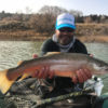 Angler with large tiger trout